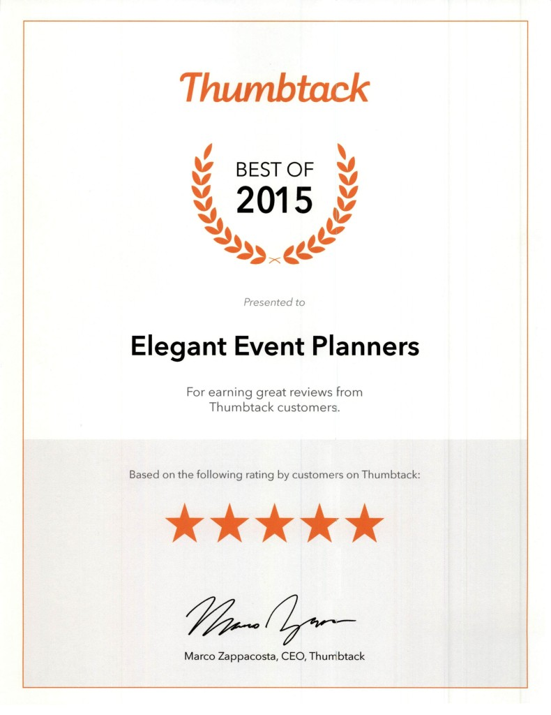 Best of 2015 - Thumbtack Award - Elegant Event Planners