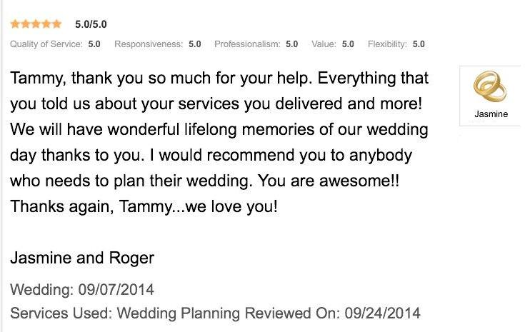 Jasmine and Roger Review - September wedding